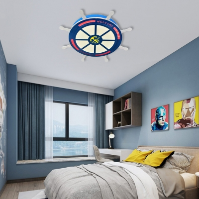 Nautical Anchor Flush Ceiling Lights Acrylic and Iron 1 Light Flush Mount Light Kids Room Lighting