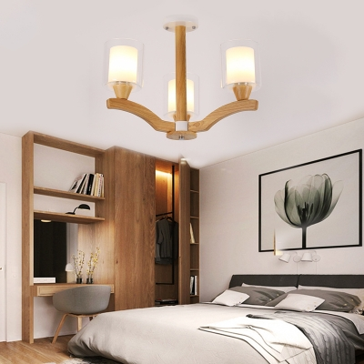 Nordic Cylinder Hanging Chandelier Clear Glass Pendant Light in Wood with Inner White Glass Shade
