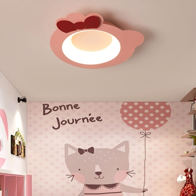 Pink Cartoon Cat Flush Mount Lamp Modern Metal Integrated Led Ceiling Light