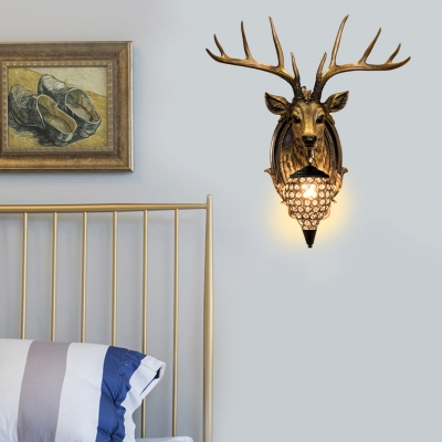 Realistic Deer Head Wall Mounted Light with Teardrop Shade 1 Light Rustic Wall Lighting