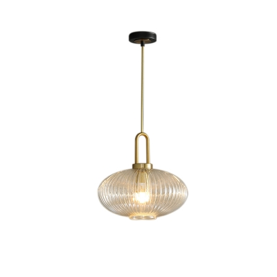 Ribbed Glass Lantern Pendant Light with Handle Contemporary 1 Light Ceiling Light in Gold