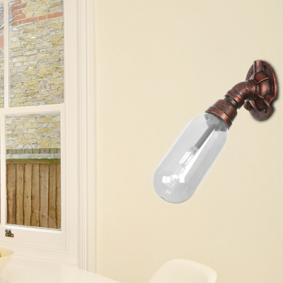 Rust Sconce Lighting Fixtures Antique Metal 1 Bulb Pipe Sconce Lights with Clear Glass Shade for Foyer, HL560755