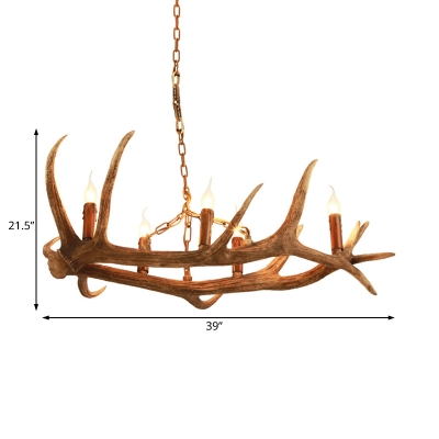 Rustic Antler Hanging Light with Exposed Bulb 5 Lights Resin Chandelier for Kitchen