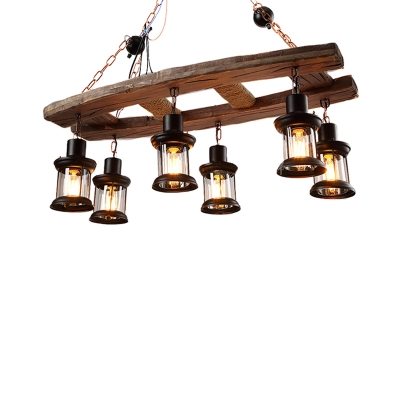 Rustic Island Chandelier Iron and Wood 6 Heads Hanging Light Fixtures in Black for Living Room