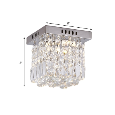 Silver Crystal Ball Ceiling Light Fixture Contemporary Square Ceiling Light Fixtures for Corridor