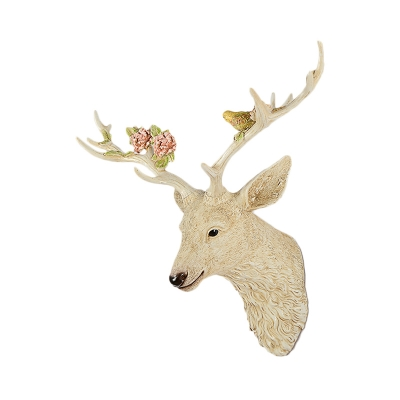 Single Light Deer Wall Lamp with Flower and Bird Resin Rustic Wall Mount Light