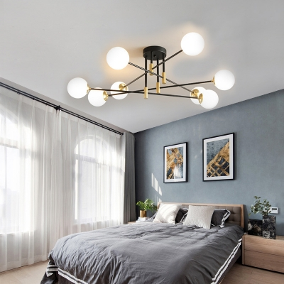 Sputnik Semi Flush Mount with Sphere Opal Glass Shade Post Modern Semi Flush Ceiling Light in Brass