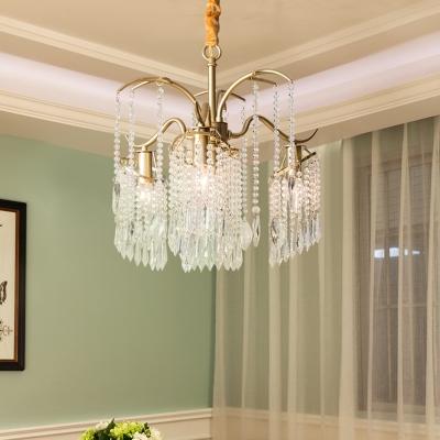 Unique Deer Antler Ceiling Pendant Lights Modern Crystal and Metal 3/7 Heads Lighting Fixture for Dining Room
