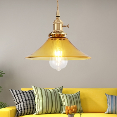 Vintage Industrial Cone Cord Pendant Glass 1-Light Hanging Ceiling Light in Brass Finish, HL559554