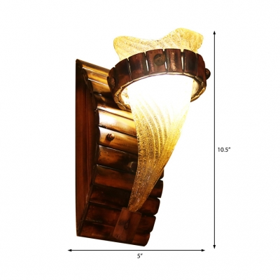 Yellow Sconce Wall Lights Asian Bamboo 1-Light Sconce Light Fixture with Sand Glass Shade for Indoor