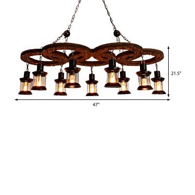 10-Light Wooden Hanging Lantern Traditional Metal and Glass Pendant Chandelier for Restaurant Bar