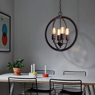 4-Light Sphere Ceiling Pendant Light Vintage Steel Chandelier Lighting Fixture in Black for Bedroom
