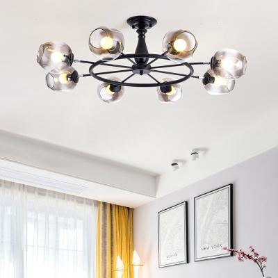 8 Light Carafe Shade Semi Flush Mount Modern Glass Ceiling Light in Smoke for Living Room