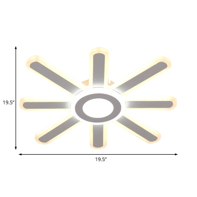 Acrylic Flush Mount Lighting with Sun Design Integrated Led White Ceiling Light Fixture