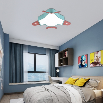 Airplane Led Ceiling Lamp with Acrylic Diffuser Metal Shade Cartoon Flush Light