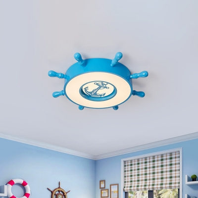 Blue Steering Wheel Flush Ceiling Lights Acrylic and Metal 1 Light Flush Mount Light for Kids Room