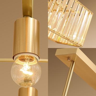 Brass Rectangular Hanging Lamp Transitional Crystal 3 Heads Island Lighting over Kitchen Island