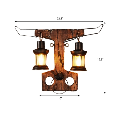 Bull Sconce Lights Coastal Iron 2 Heads Sconce Light Fixture with Wooden Base for Coffee Shop