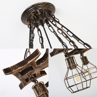 Cage Pendant Ceiling Lights Industrial-Style Metal 6 Light Hanging Light Fixtures for Dining Room