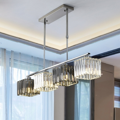 Crystal Square Hanging Lamp Contemporary Metal 3/4 Light Island Pendant over Kitchen Island