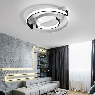 Double Ring Flush Ceiling Light Simple Acrylic Integrated Led White/Warm Flush Mount Ceiling Light