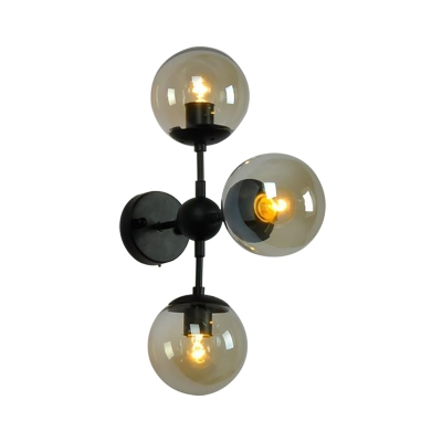 Global Wall Mounted Light Modern Black and Iron Wall Sconce Light with Tea Glass Shade for Foyer