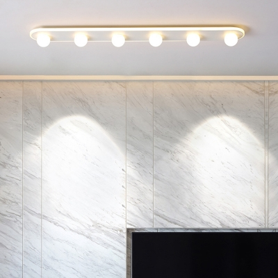 Linear Ceiling Flush Light with Orb Acrylic Shade Nordic Style Flush Mount Light in White