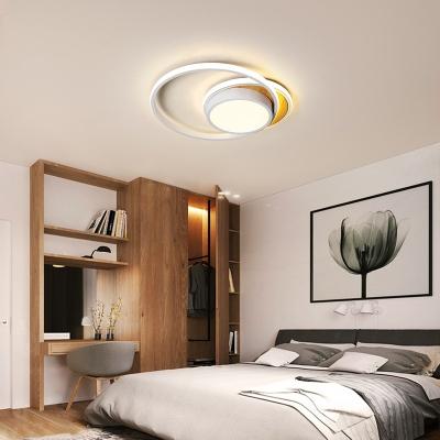 Nordic Circular Flush Mount Ceiling Light Wood Canopy LED Black/White