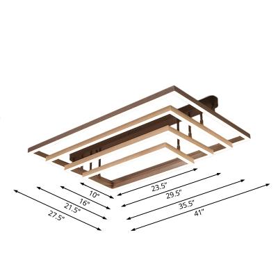 Rectangular Bedroom Semi Flush Mount Metal 3/4/5 Light Modern Ceiling Light in Coffee