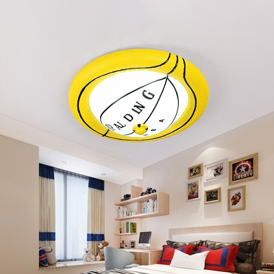 Resin Basketball Flush Ceiling Light with White Glass Shade Sports LED Flushmount