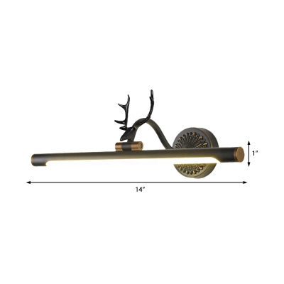 Rotatable Black/Bronze Antler Sconce Contemporary Acrylic and Metal Vanity Wall Lamp