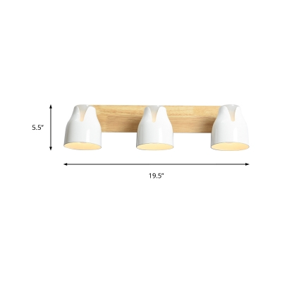 Rotatable Dome Vanity Light with Wooden Backplate 2/3 Lights Modern Metal Wall Sconce
