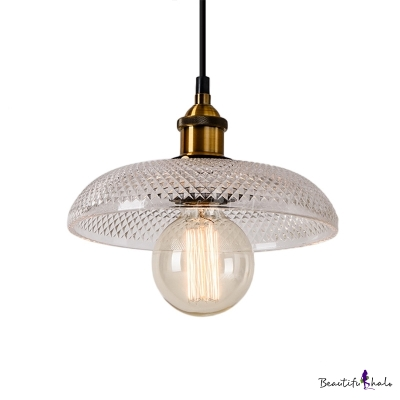 Single Bulb Pendant Ceiling Light Industrial Ribbed Glass Hanging Lamps in Antique Brass