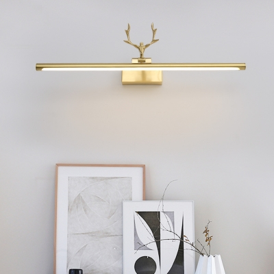 Tubular Vanity Light with Antler Mid Century Modern Adjustable Led Wall Mount Light in Gold