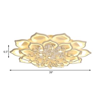 White Flower Flush Ceiling Light Contemporary Integrated Led Flush Lighting with Crystal Ball