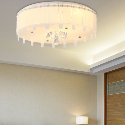 White Round Flush Mount Light for Living Room, Contemporary Unique Crystal Ceiling Light Fixture