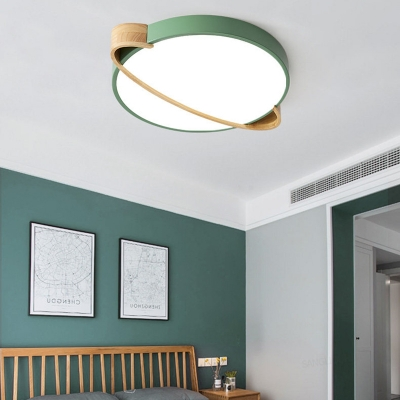 Wood Strapped Flush Mount Lighting Nordic Style Acrylic 1 Light Round Ceiling Lights in White/Grey/Green
