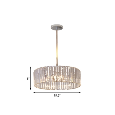 5/6 Light Drum Hanging Chandelier Modern Crystal and Metal Pendant Chandelier for Kitchen