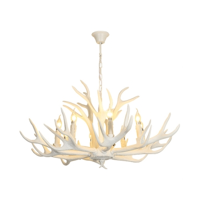 American Country Antlers Chandelier Resin Hanging Light in White for Coffee Shop Restaurant