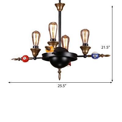Billiard Ceiling Pendants Modern Industrial Metal 6 Lights Chandelier Light, Black with Textured Brass