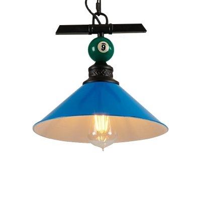 Billiard Rope Hung Pendant Nordic Style 1 Light Hanging Light Fixtures with Metal Cone Shade for Indoor