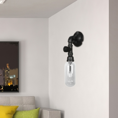 Black Pipe Sconce Lighting Fixtures Antique Iron and Glass 1 Head Sconce Lamp with Switch for Corridor