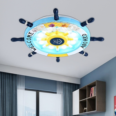 Boys Room Ceiling Flush Light with Rudder Wood Shade Nautical 8 Bulbs Flushmount