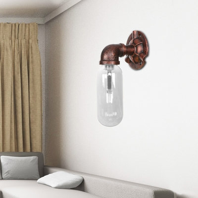 Clear Glass Sconce Lighting Fixtures Antique Metal 1 Bulb Pipe Sconce Lights for Bathroom