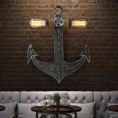 Distressed Anchor Sconce Lights Nautical Metal 2-Light Sconce Light Fixture with Rope for Coffee Shop