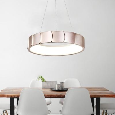 Drum Led Suspension Light 1 Light Modernism Metal Pendant Lighting for Bedroom