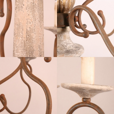 French Rustic Candle Hanging Chandelier Wood and Metal 8 Lights Dining Room Pendant Light