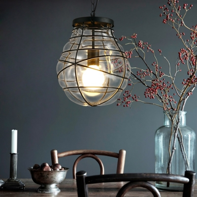 Jar Hanging Light Coastal Iron and Blown Glass 1-Light Cage Ceiling Lights for Living Room