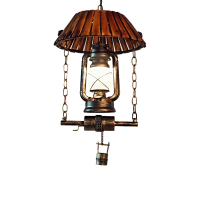 Lantern Ceiling Pendant Lights Asian Bamboo and Metal 1 Head Hanging Pendant with Frosted Glass Shade for Restaurant