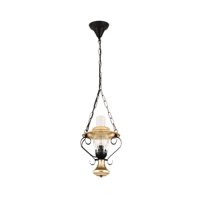 Lantern Ceiling Pendant Nautical Iron and Glass 1-Light Chain Hung Pendant for Coffee Shop